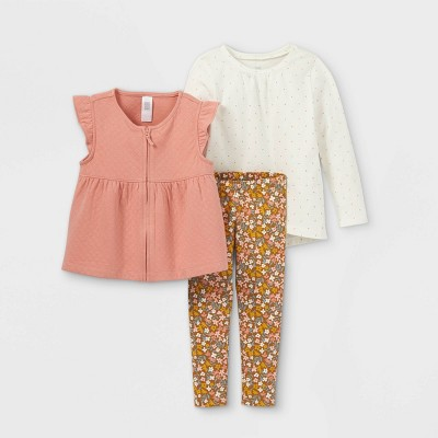 Toddler Girls' 3pc Floral Long Sleeve Top & Leggings Set - Just One You® made by carter's Pink