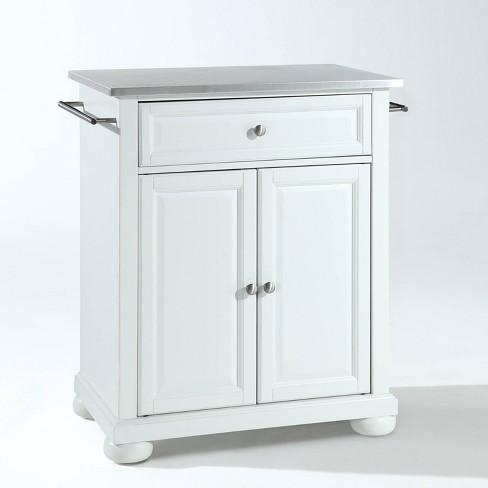 Alexandria Stainless Steel Top Portable Kitchen Island - White - Crosley