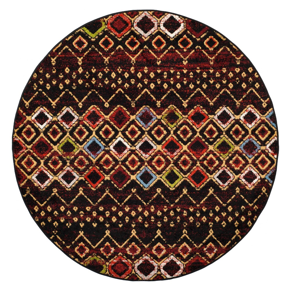 5'1 Geometric Round Area Rug Black - Safavieh, Black/Multi-Colored