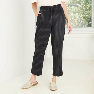 Women's Pinstripe High-Rise Ankle Length Knit Pants - A New Day™