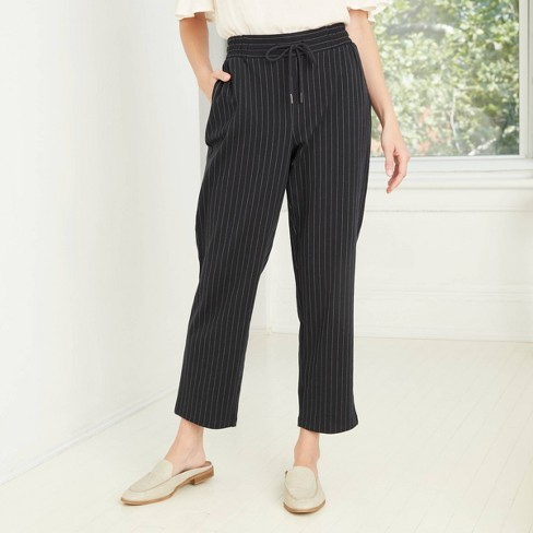 Women's Pinstripe High-Rise Ankle Length Knit Pants - A New Day™  - image 1 of 3