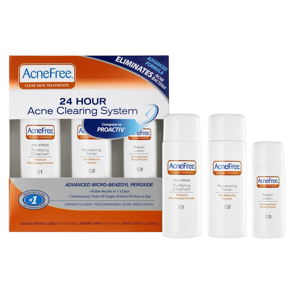 AcneFree 3 Step 24 Hour Acne Treatment Kit with Oil Free Face Wash, Toner, and Repair Lotion - 3pc