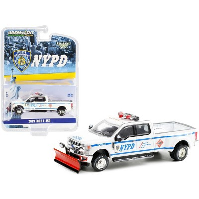"""2019 Ford F-350 Dually Pickup Truck w/Snow Plow White """"New York City Police Dept."""" (NYPD) 1/64 Diecast Model Car by Greenlight"""
