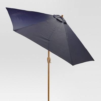 8.9' x 8.9' Round Sling Umbrella - Navy - Medium Wood Finish - Threshold™