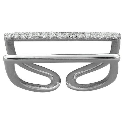 Women's Silver Plated Adjustable Cubic Zirconia Double Band Ring-White-Size (7) - image 1 of 1