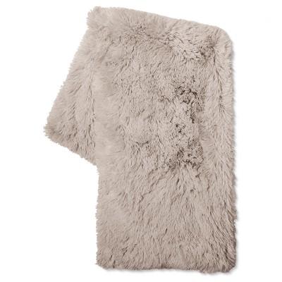 Gray Long Faux Fur Throw - Xhilaration™