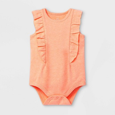 Baby Girls' Ruffle Short Sleeve Bodysuit - Cat & Jack™ Moxie Peach 3-6M