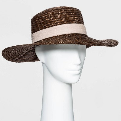 Women's Flat Top Wheat Straw Boater Hat - A New Day™