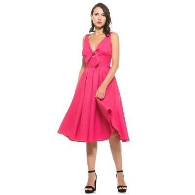 Alexia Admor Karina V Neck Fit And Flare Bow Dress