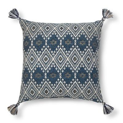 Blue Metallic Woven Tassel Square Throw Pillow - Threshold™