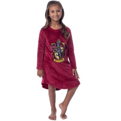 Harry Potter Girls' Hogwarts Houses Crest Raglan Pajama Nightgown-All Houses