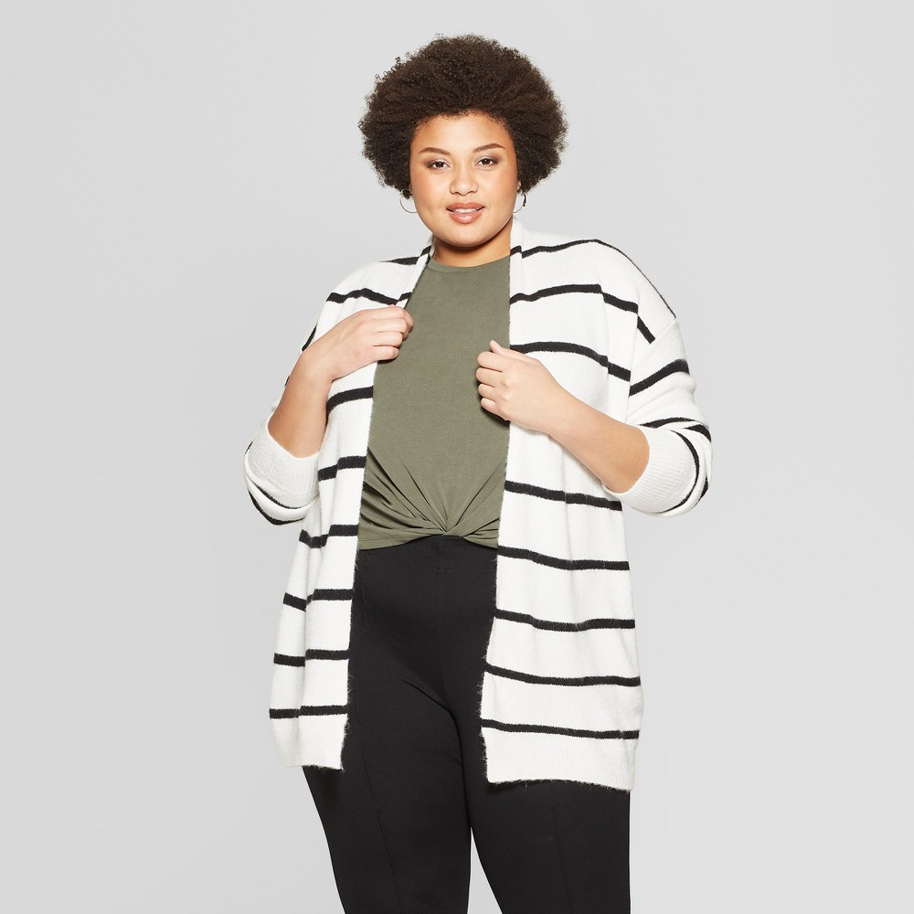 Women's Plus Size Striped Long Sleeve Open Layering Cardigan - Ava & Viv Black/White 4X
