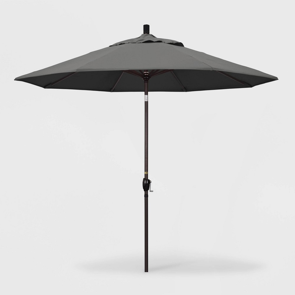 9' Pacific Trail Patio Umbrella Push Button Tilt Crank Lift - Sunbrella Charcoal (Grey) - California Umbrella