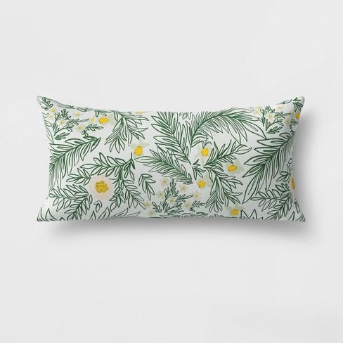 Spring Floral Lumbar Outdoor Throw Pillow Green - Opalhouse™ - image 1 of 1
