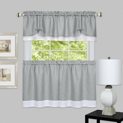 GoodGram Darcy Semi Sheer Tie-Up Kitchen Curtain Tier & Valance Set
