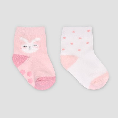 Baby Girls' 2pk Easter Bunny Crew Socks - Just One You® made by carter's Pink