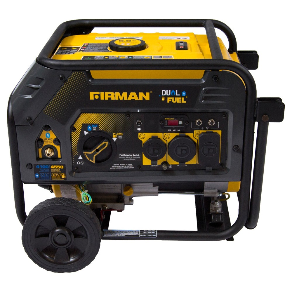 3650/4550W Hybrid Series Dual Fuel Generator With Recoil Start-Non Carb Compliant - Black - Firman Power