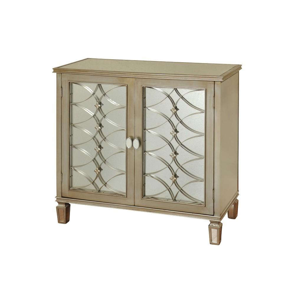 2 Door Cabinet with Mirror Insets Champagne (Beige) - Stylecraft