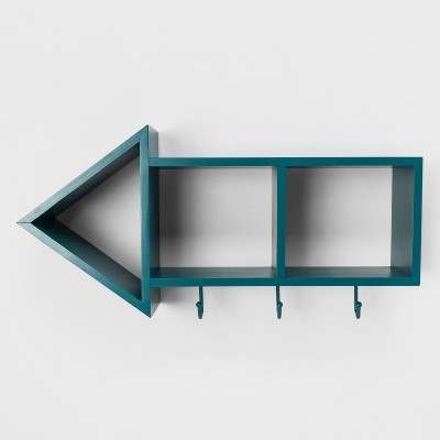 Teal Arrow Shelf with Hooks(9.5 x20 x5 )- Pillowfort™