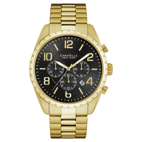 Men's Caravelle New York Stainless Steel Chronograph Watch 44B114 - Bright gold - image 1 of 1