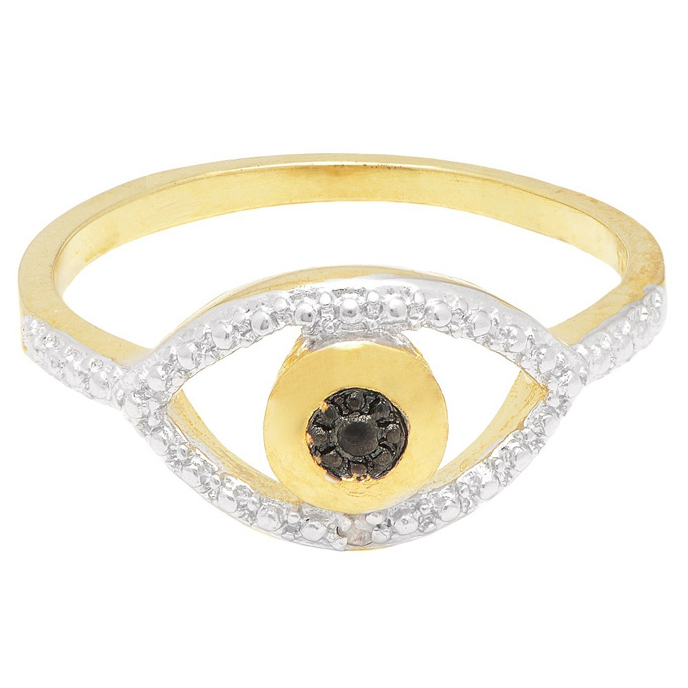 0.01 CT.T.W. Round-Cut Diamond Accent Evil Eye Design Prong Set Ring 18K Gold Overlay (Size 7), Girl's