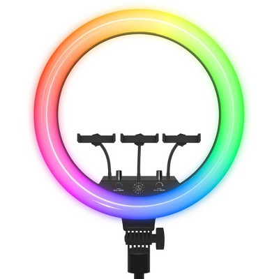 "Dixie & Charli 18"" RGB Ring Light with DELUXE 63"" Tripod"