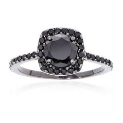 Pompeii3 1 1/2ct Black Diamond Cushion Halo Ring 14K Black Gold