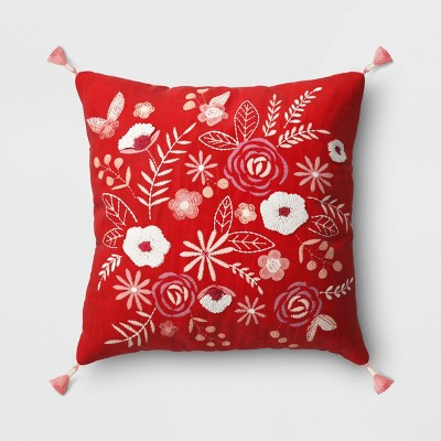 Square Embroidered Floral Valentine's Day Pillow Red - Opalhouse™