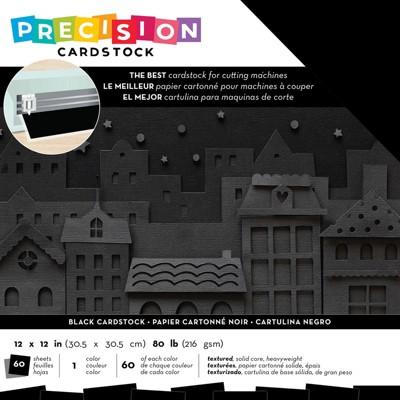 "American Crafts Precision Cardstock Pack 80lb 12""X12"" 60/Pkg-Black/Textured"