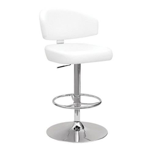 Soothing Adjustable Stool with Swivel White/Chrome Silver - Benzara - image 1 of 1