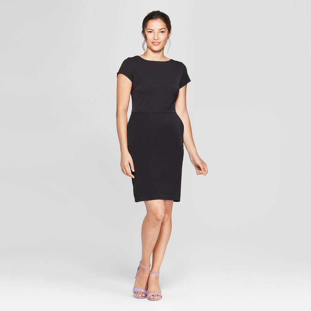 Women's Short Sleeve Bi-Stretch Twill Dress - A New Day Black 18