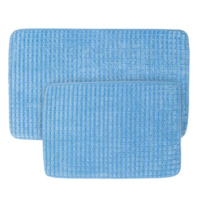 Jacquard Memory Foam Bath Mat Set Blue - Yorkshire Home