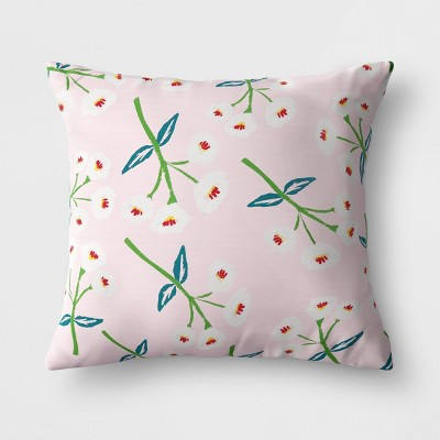 Floral Outdoor Reversible Throw Pillow Pink - Opalhouse™