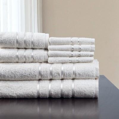 8pc Plush Cotton Bath Towels Set White - Yorkshire Home