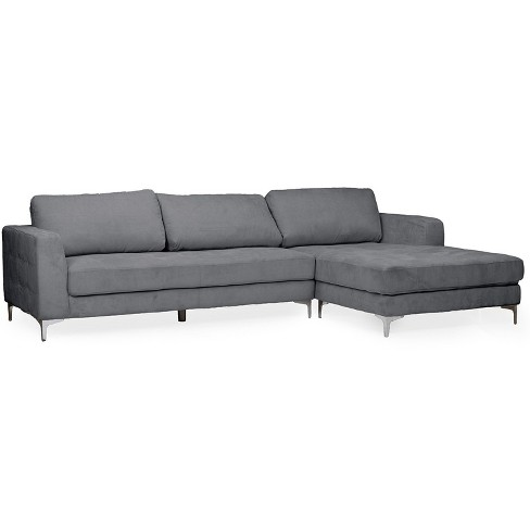 Agnew Contemporary Microfiber Right Facing Sectional Sofa Gray Baxton Studio Target
