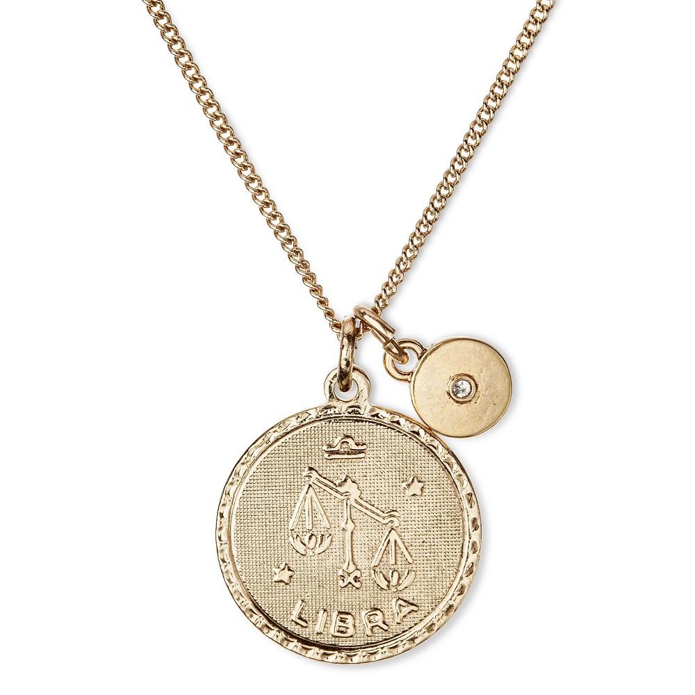 Women's Libra Zodiac Short Necklace - Antique Gold (16)