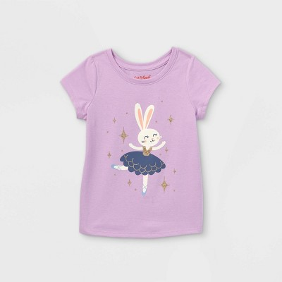 Toddler Girls' Glitter Bunny Ballerina Short Sleeve T-Shirt - Cat & Jack™ Purple