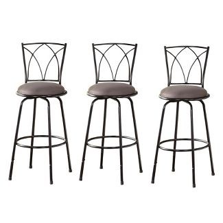 Set of 3 Delta Adjustable Height Stool Black/Gray - Buylateral