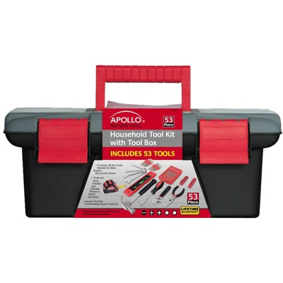 Apollo Tools 53pc DT9773 Household Tool Kit with Tool Box