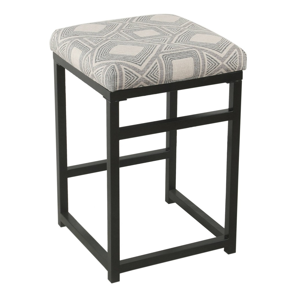 """Image of """"24"""""""" Open Back Counter Stool Square Geometric Charcoal - HomePop, Grey"""""""