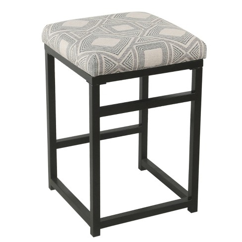 Fabulous 24 Open Back Counter Stool Square Geometric Charcoal Homepop Forskolin Free Trial Chair Design Images Forskolin Free Trialorg