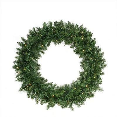 "Northlight 36"" Prelit LED Lights Buffalo Fir Artificial Christmas Wreath - Warm White Lights"