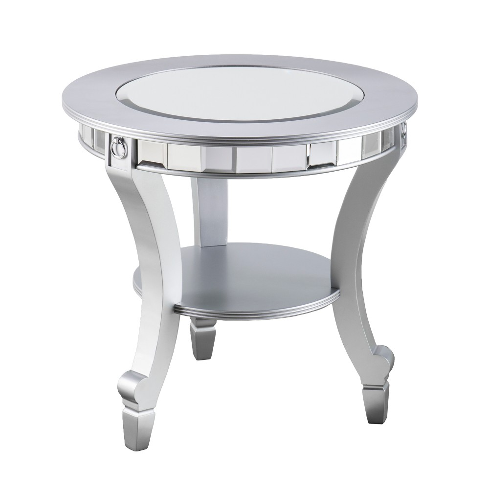 Lupina Glam Round End Table Matte Silver - Aiden Lane