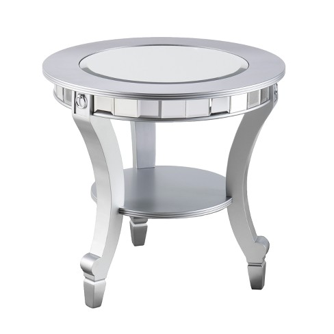 Lupina Glam Round End Table Matte Silver - Aiden Lane - image 1 of 5