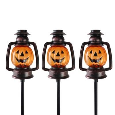 "Northlight 16.5"" Halloween Flickering Pumpkin Lantern Pathway Markers 3ct - Orange/Black"
