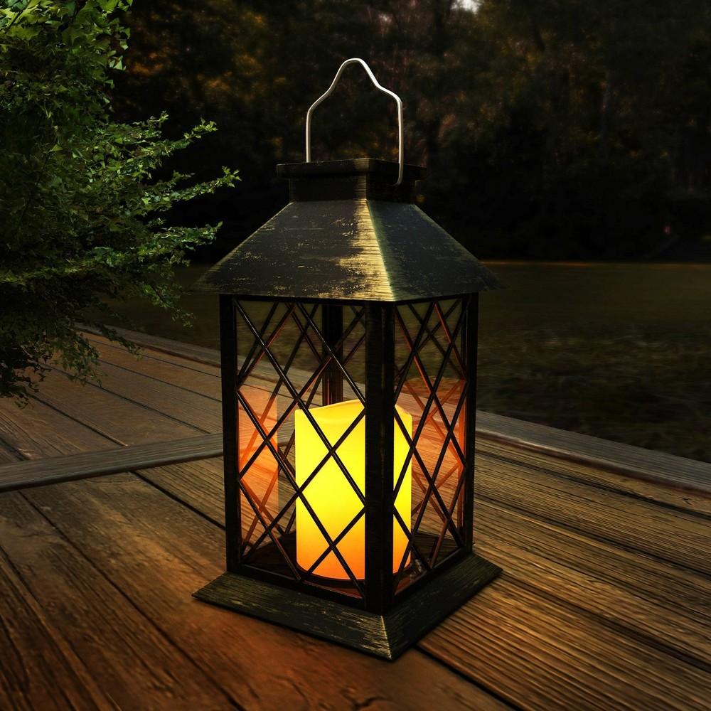 Water Resistant Solar LED Pillar Candle Outdoor Lantern - Pure Garden, Brown