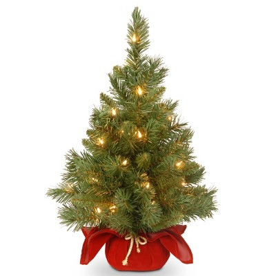 2ft National Tree Company Pre-Lit Majestic Spruce Artificial Tree in Burgundy Cloth Bag with 35 Warm White Battery Operated LED Lights