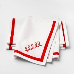 White with Red Falala Chain Stitched Fabric Napkin Set of 4 - sugar paper™
