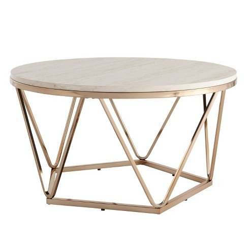 Laconia Faux Stone Round Coffee Table White Gold Aiden Lane