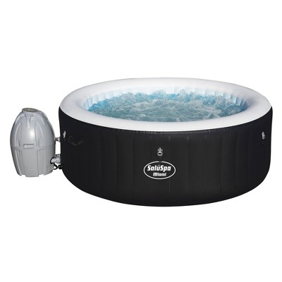 Bestway SaluSpa Miami 4-Person Portable Inflatable Round Outdoor Hot Tub Spa Jacuzzi with 120 Massage Air Jets, Pump, & Integrated Filter, Black